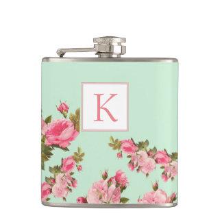 ピンクの緑の花のモノグラムの新婦付添人のフラスコ フラスク