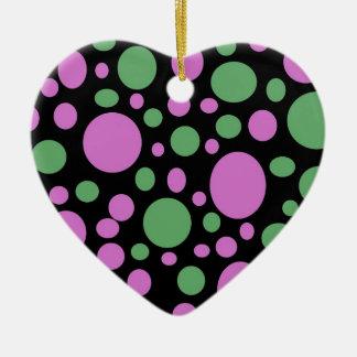 ピンクの緑のpokkaの点 セラミックオーナメント