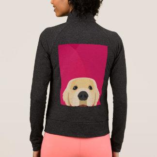 ピンクの背景とのイラストレーション金Retriver ジャケット