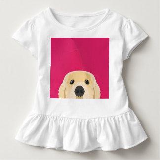 ピンクの背景とのイラストレーション金Retriver トドラーTシャツ