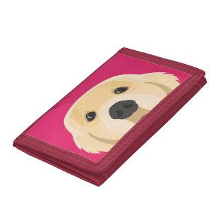 ピンクの背景とのイラストレーション金Retriver ナイロン三つ折りウォレット