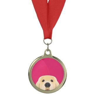 ピンクの背景とのイラストレーション金Retriver メダル