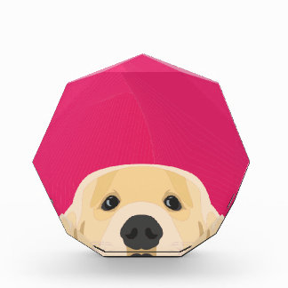 ピンクの背景とのイラストレーション金Retriver 表彰盾
