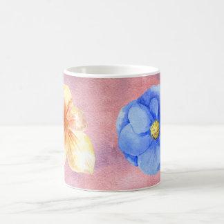 ピンクの背景のかわいらしい花 コーヒーマグカップ