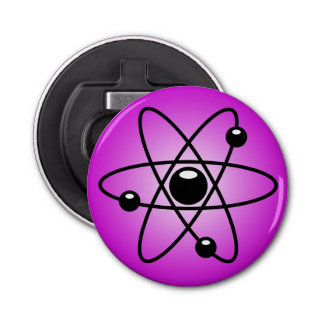 ピンクの背景の原子記号 栓抜き