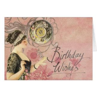ピンクの背景の誕生日の願いのヴィンテージの女性 カード