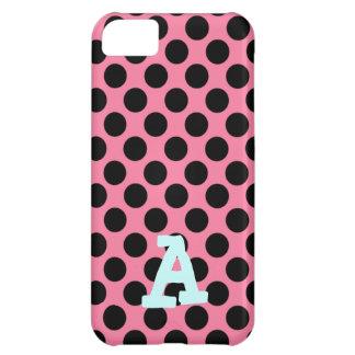 ピンクの背景の黒い点 iPhone5Cケース