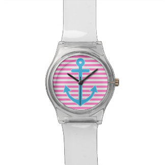 ピンクの航海のないかり 腕時計