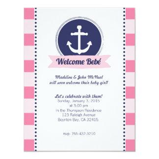 ピンクの航海のなベビーシャワーのカスタムの招待 カード