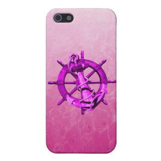 ピンクの航海のな船車輪およびいかり iPhone 5 ケース