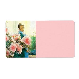 ピンクの花および彼女の織機を持つカーリン ラベル