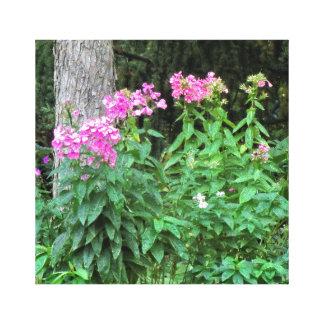 ピンクの花および木の包まれたなキャンバス キャンバスプリント