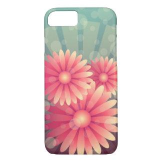 ピンクの花および青い円 iPhone 7ケース