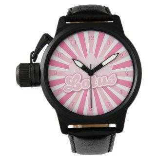 ピンクの花のはす 腕時計