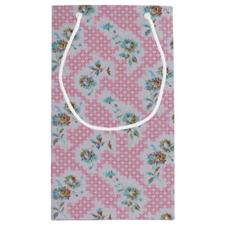 ピンクの花のギフトバッグのヴィンテージのスタイル スモールペーパーバッグ
