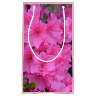 ピンクの花のギフトバッグ スモールペーパーバッグ