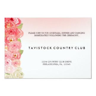 ピンクの花のグラデーションな結婚披露宴カード カード