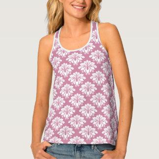 ピンクの花のダマスク織 タンクトップ