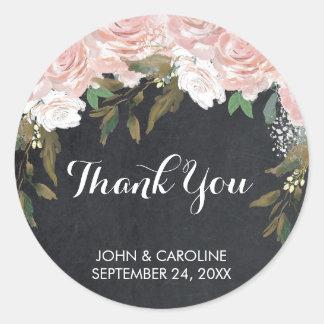 ピンクの花のチョークはステッカーのウェディングシャワー感謝していしています ラウンドシール