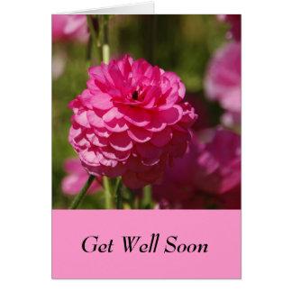 ピンクの花のデザインの健康なカードをすぐに得て下さい グリーティングカード
