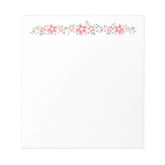 ピンクの花のノート ノートパッド