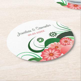 ピンクの花のハイビスカスの円形の結婚式の紙のコースター ラウンドペーパーコースター