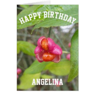 ピンクの花のハッピーバースデーカード名前をカスタムする グリーティングカード