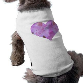 ピンクの花のハート犬のティー ペット服