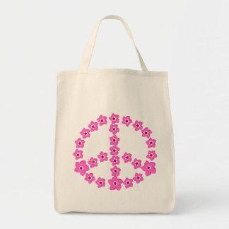 ピンクの花のピースマーク トートバッグ
