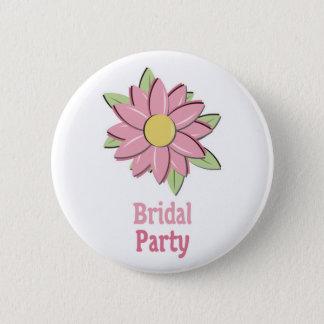 ピンクの花のブライダルパーティ 5.7CM 丸型バッジ