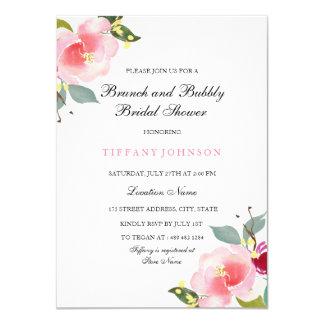 ピンクの花のブランチおよび快活なブライダルシャワーの招待 カード