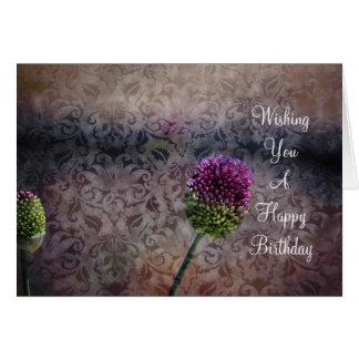 ピンクの花のブロケード カード