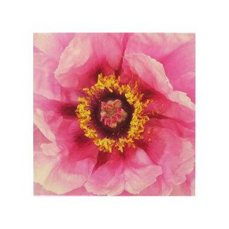 ピンクの花のプリント ウッドウォールアート