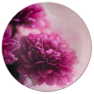 ピンクの花のプレート 磁器プレート