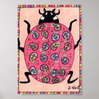 ピンクの花のペイズリーのてんとう虫の小型民芸 ポスター