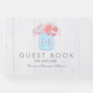 ピンクの花のメーソンジャーの素朴な結婚式 ゲストブック