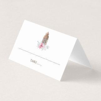 ピンクの花のランタンの結婚式 プレイスカード