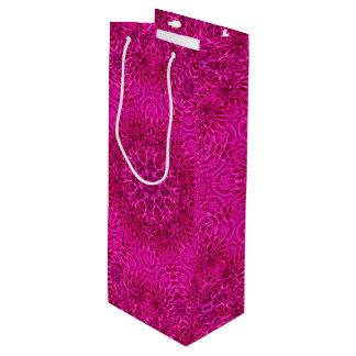 ピンクの花のヴィンテージの万華鏡のように千変万化するパターンのワインのバッグ ワインギフトバッグ