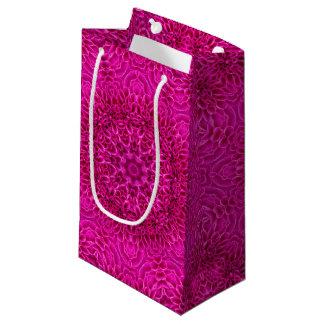 ピンクの花のヴィンテージの万華鏡のように千変万化するパターンの小さいギフトバッグ スモールペーパーバッグ