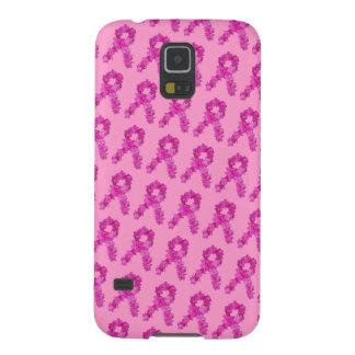 ピンクの花の乳癌の認識度のリボンパターン GALAXY S5 ケース