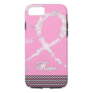 ピンクの花の乳癌の認識度のリボンiPhone7 iPhone 8/7ケース