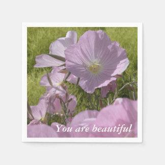 ピンクの花の前向きな引用文の紙ナプキン スタンダードカクテルナプキン