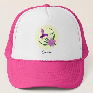 ピンクの花の名前のハチドリ キャップ