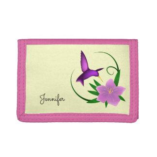 ピンクの花の名前のハチドリ ナイロン三つ折りウォレット