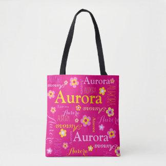 ピンクの花の名前をカスタムするのオーロラの芸術のトートバック トートバッグ