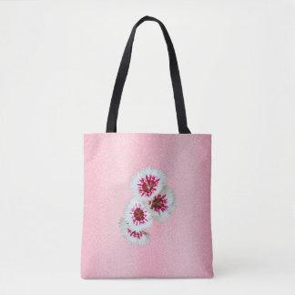 ピンクの花の名前入りなモノグラムの結婚式のトートバック トートバッグ