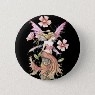 ピンクの花の妖精の芸術 5.7CM 丸型バッジ