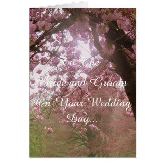 ピンクの花の婚礼の日 グリーティングカード