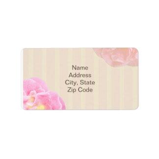 ピンクの花の宛名ラベルニコール ラベル