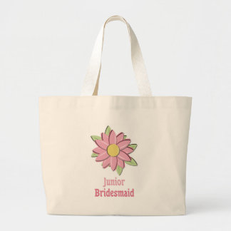 ピンクの花の後輩の新婦付添人 ラージトートバッグ